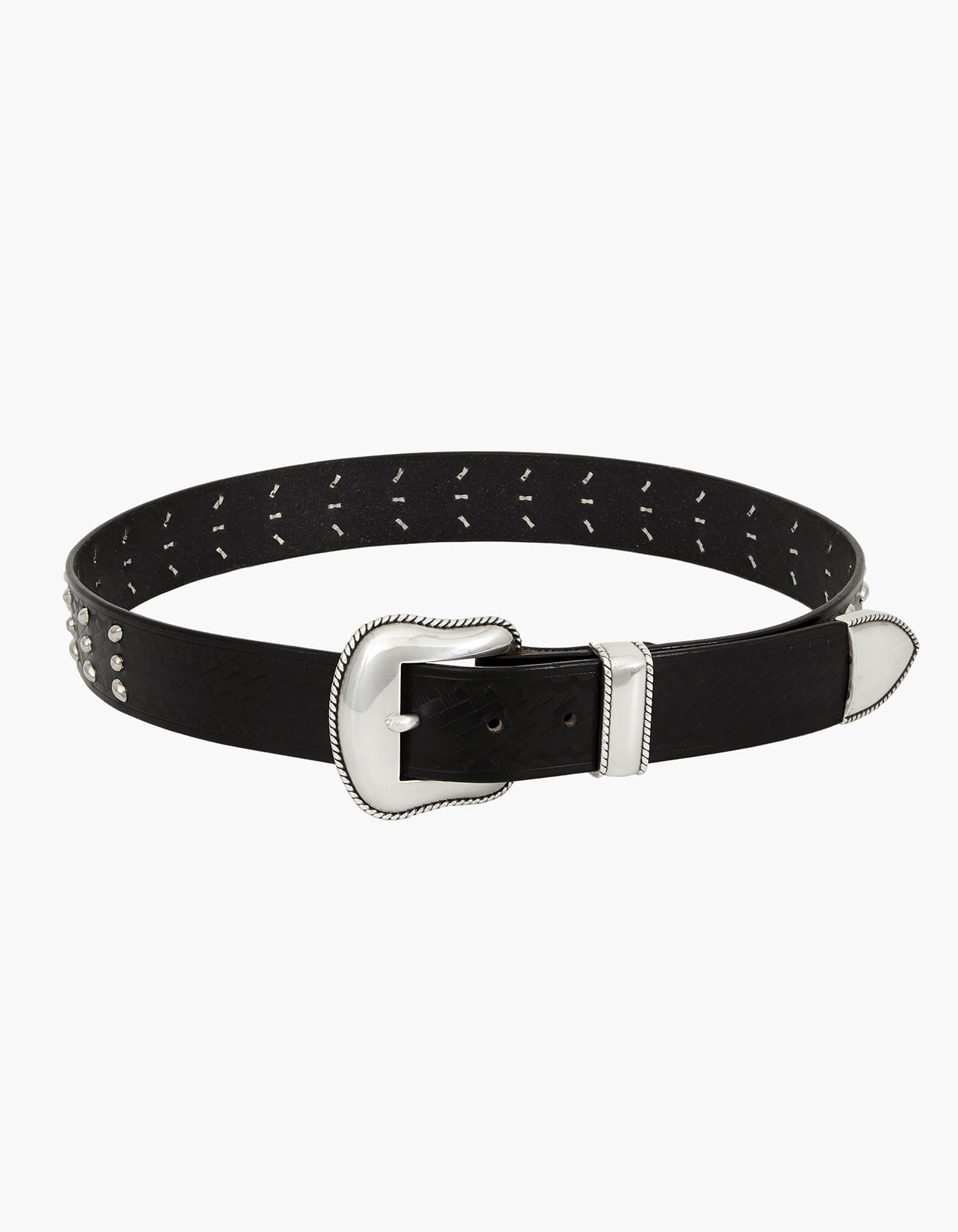 TRIPLE STUD BRIDLE LEATHER BELT / BLACK