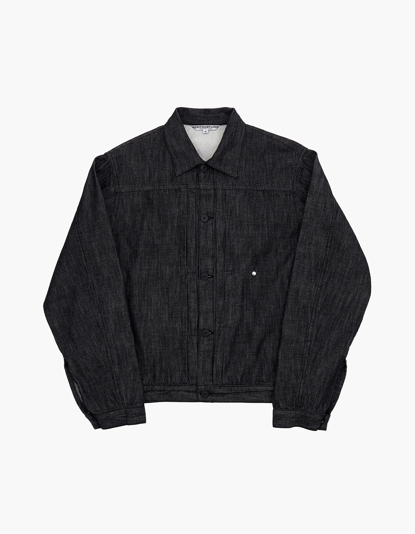 YARN DYED DENIM TRUCKER JACKET / BLACK