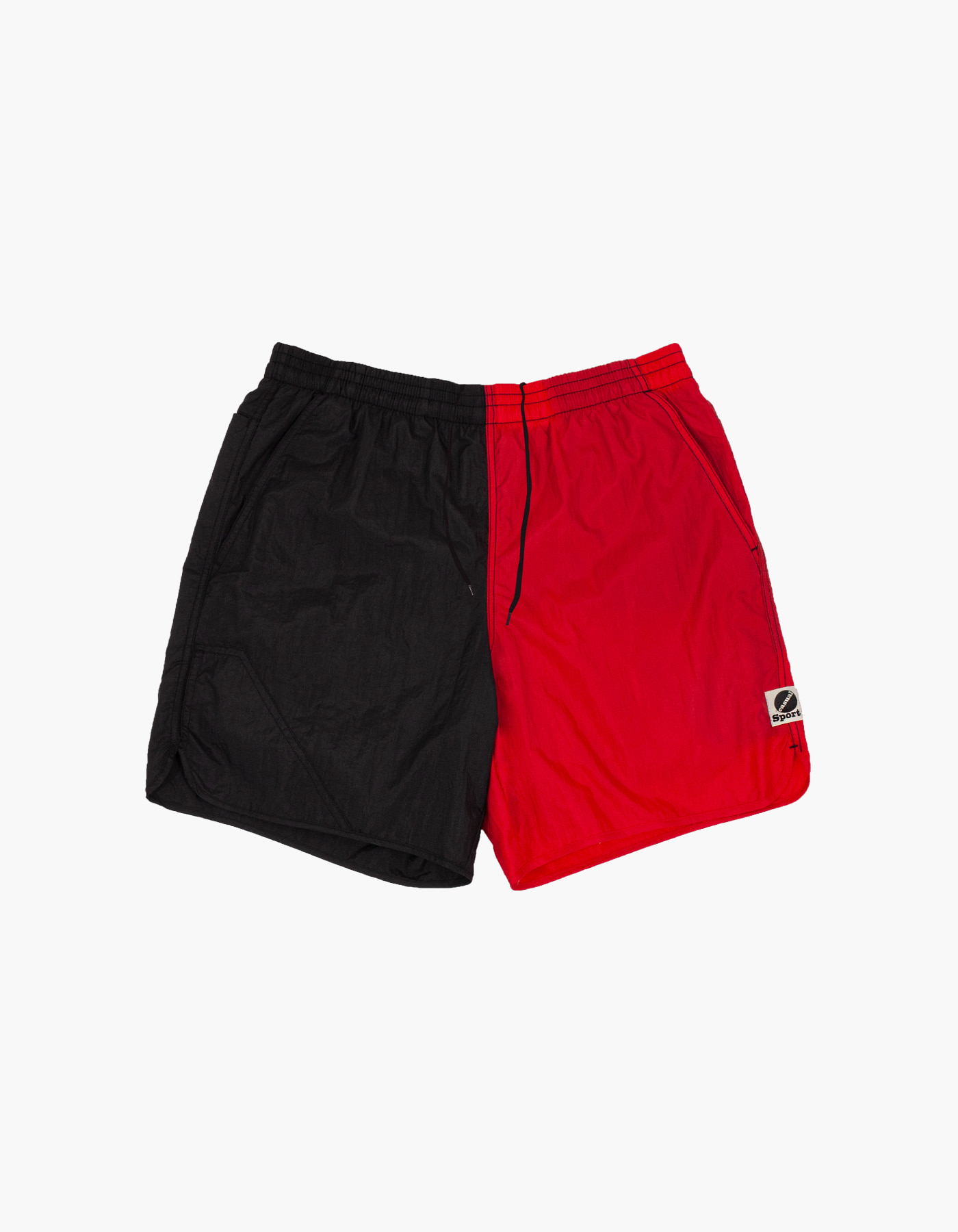 NYLON DIAMOND WASHER SHORTS / BLACK-RED