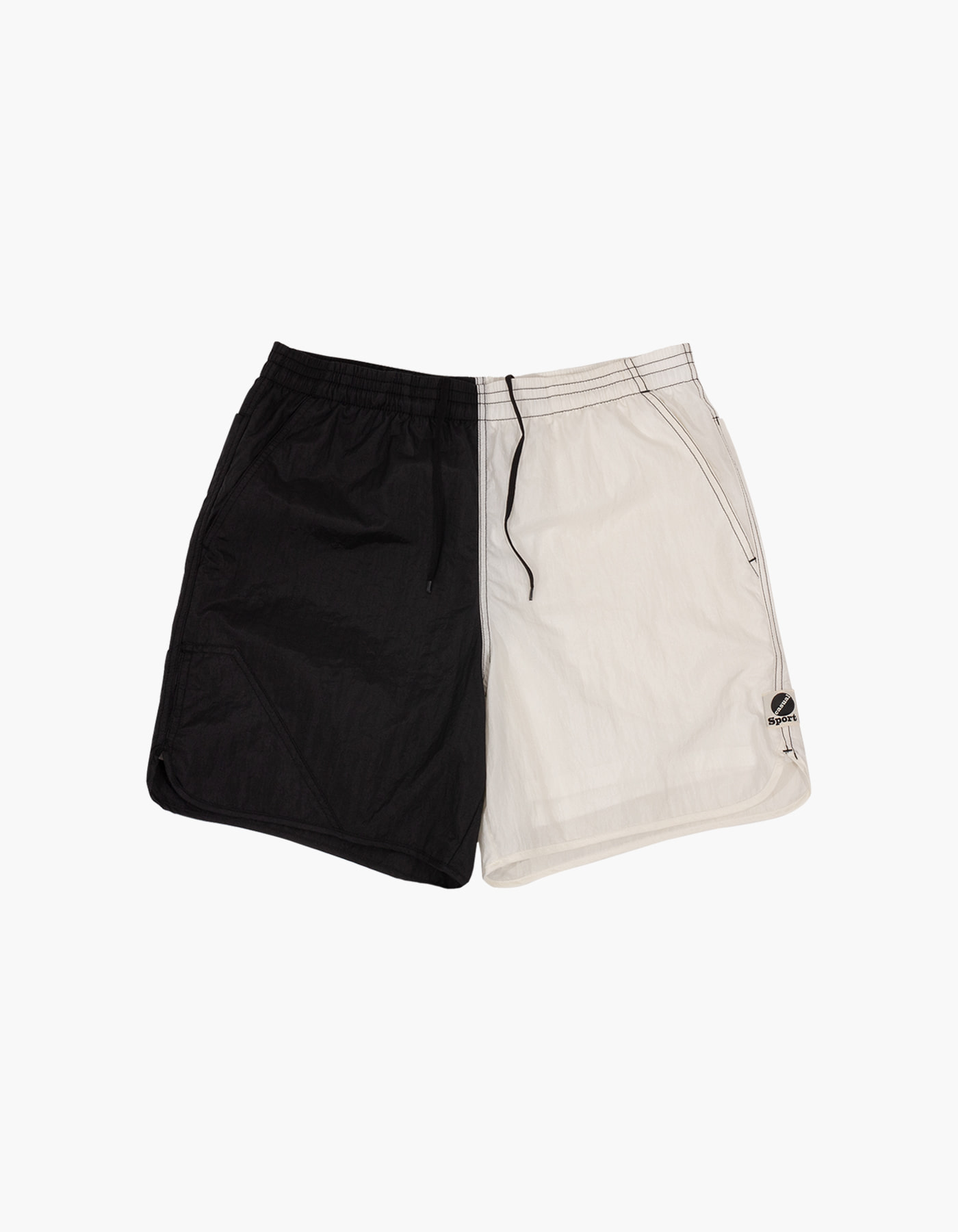 NYLON DIAMOND WASHER SHORTS / BLACK-WHITE