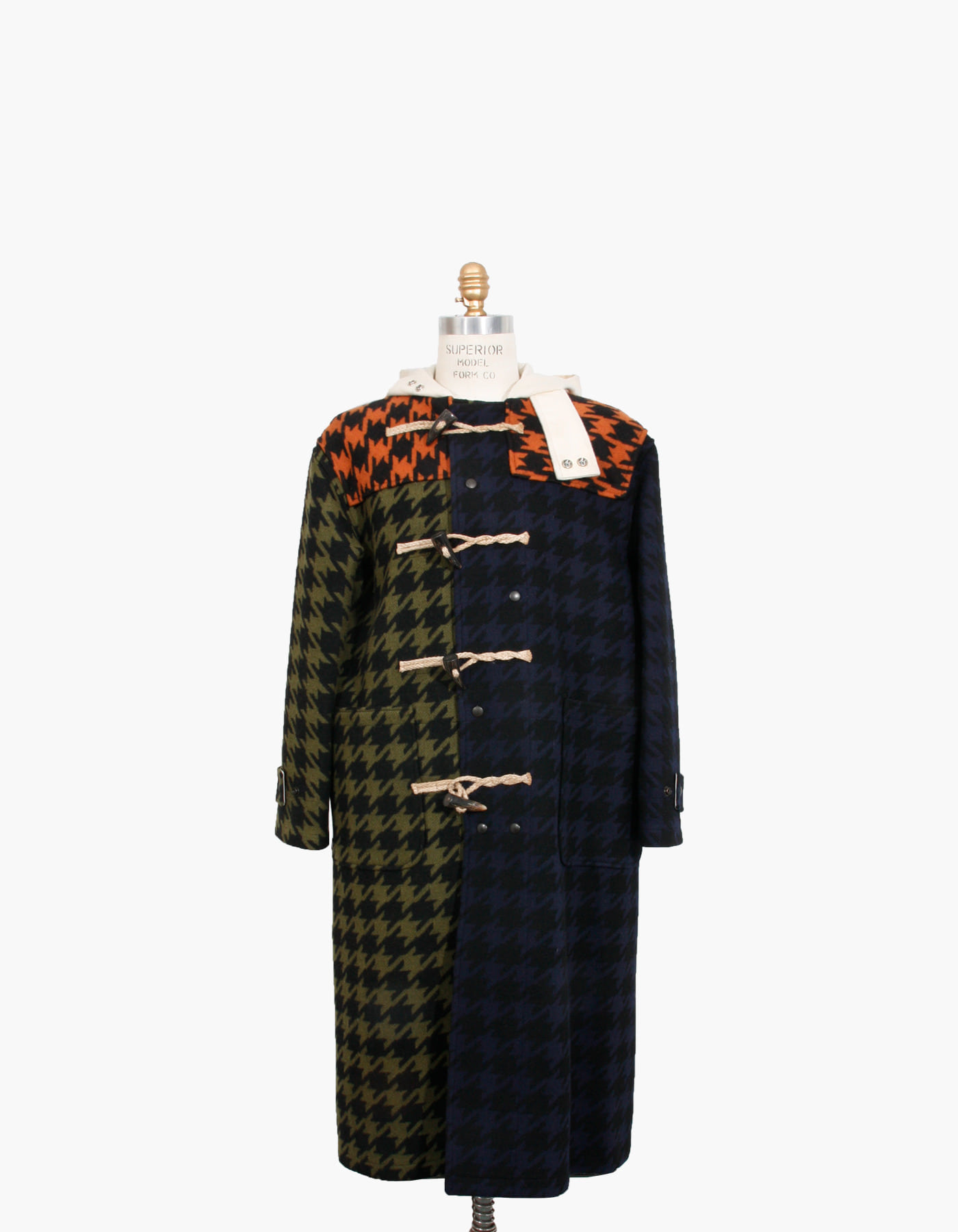 HOUNDSTOOTH WOOL DUFFLE COAT / GINGER-NAVY-FATIGUE