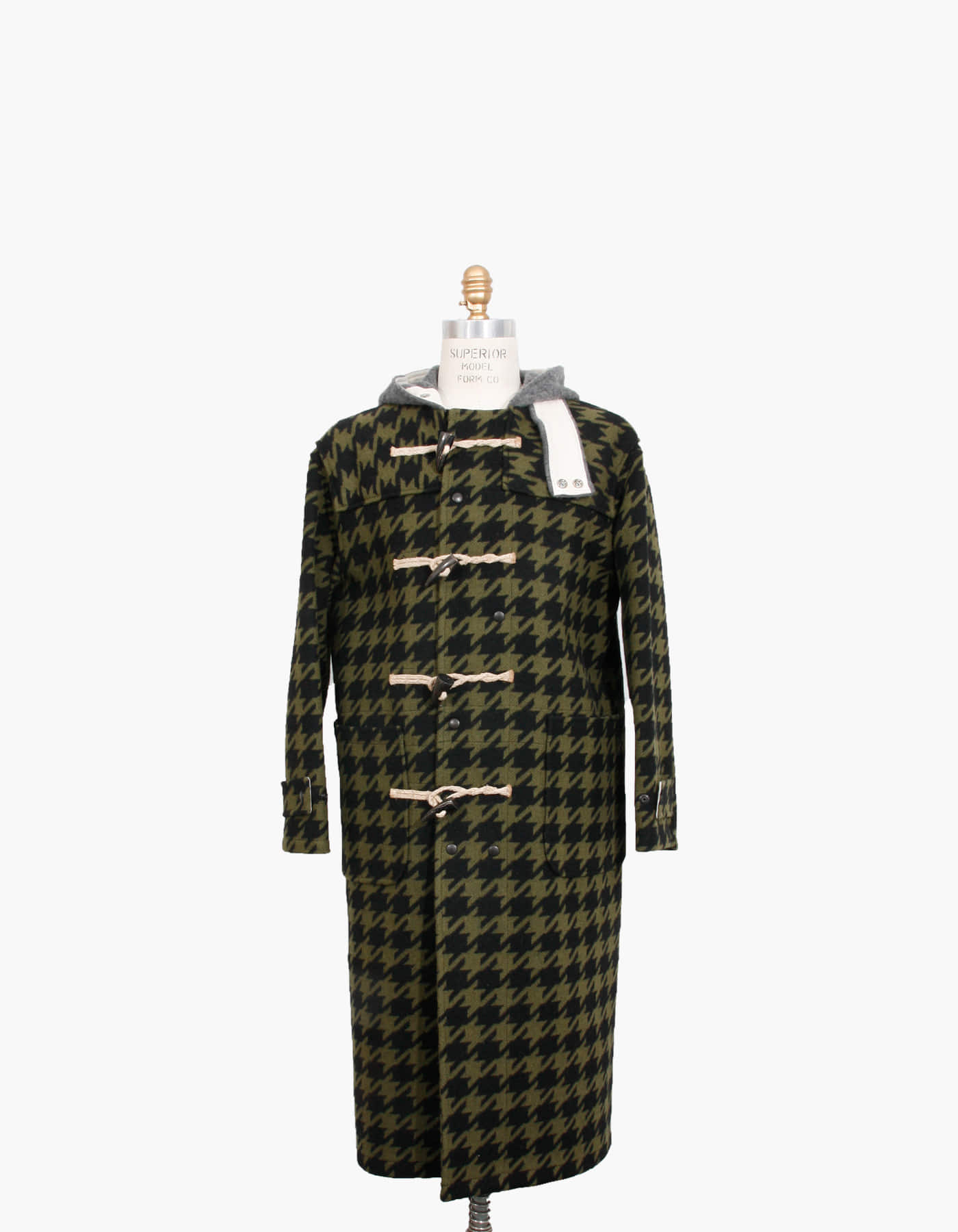 HOUNDSTOOTH WOOL DUFFLE COAT / FATIGUE
