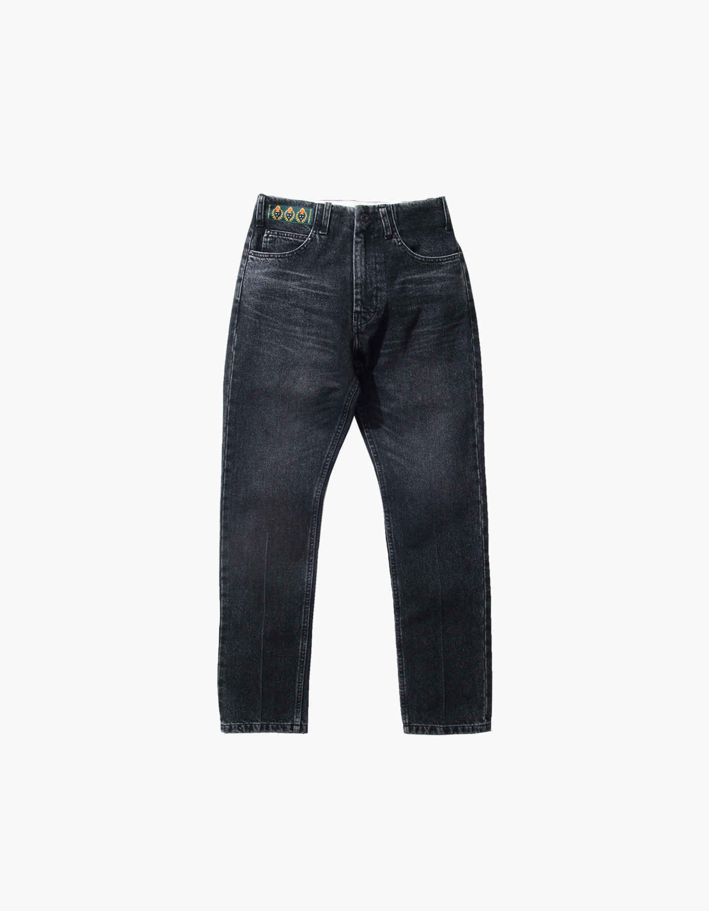STONE WASHED STRAIGHT PANTS (W) / BLACK