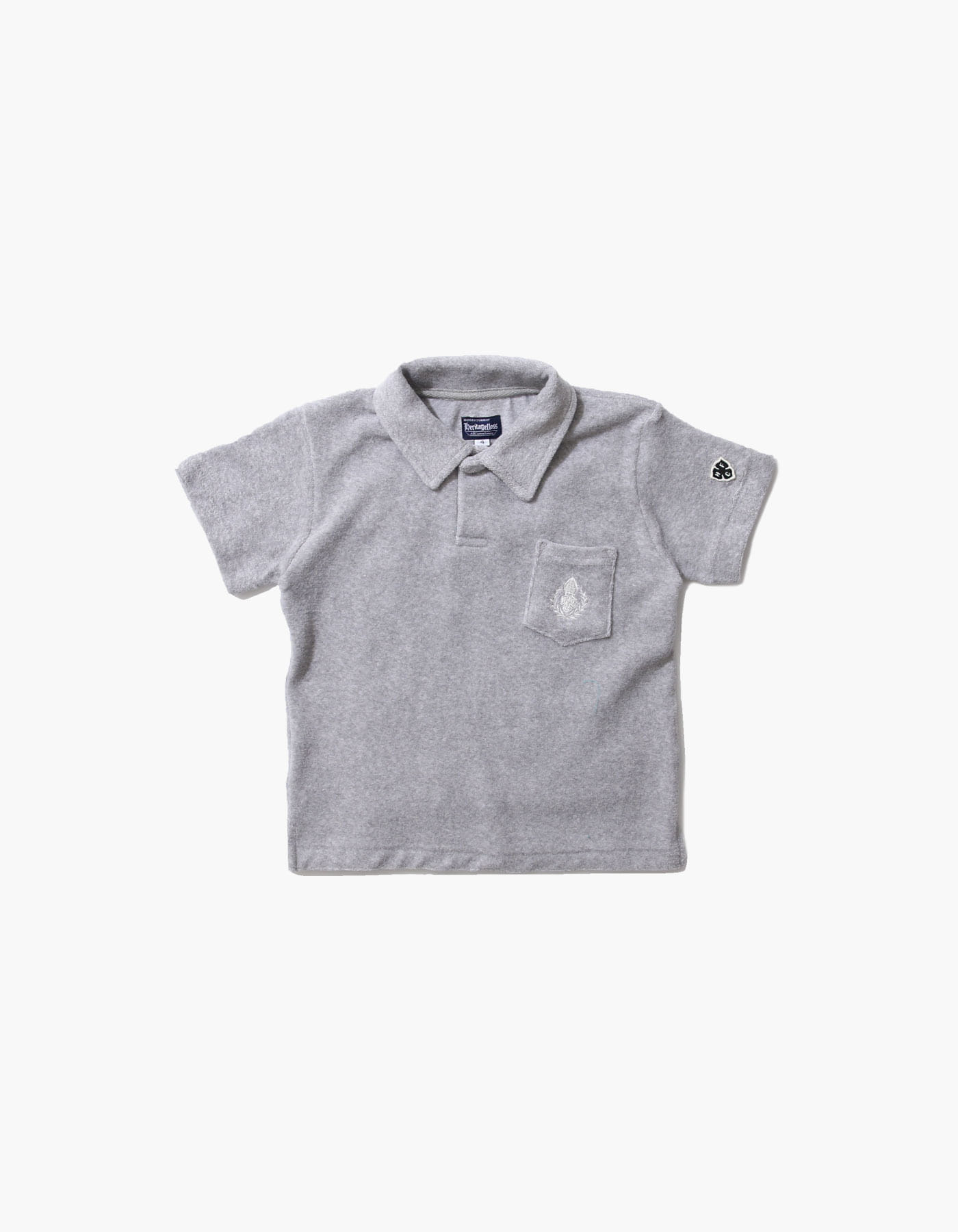 HFC CREST KIDS TOWEL POLO SHIRTS / M.GREY(5%)