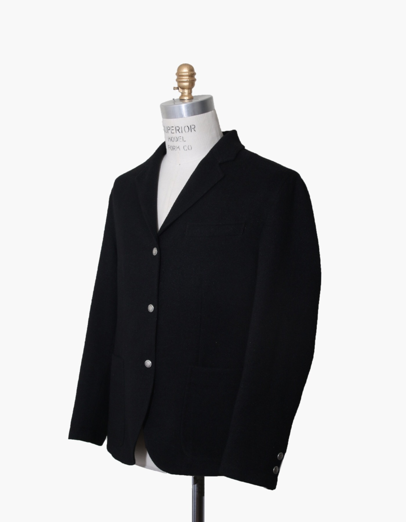 FAUX WOOL SPORTS BLAZER / BLACK