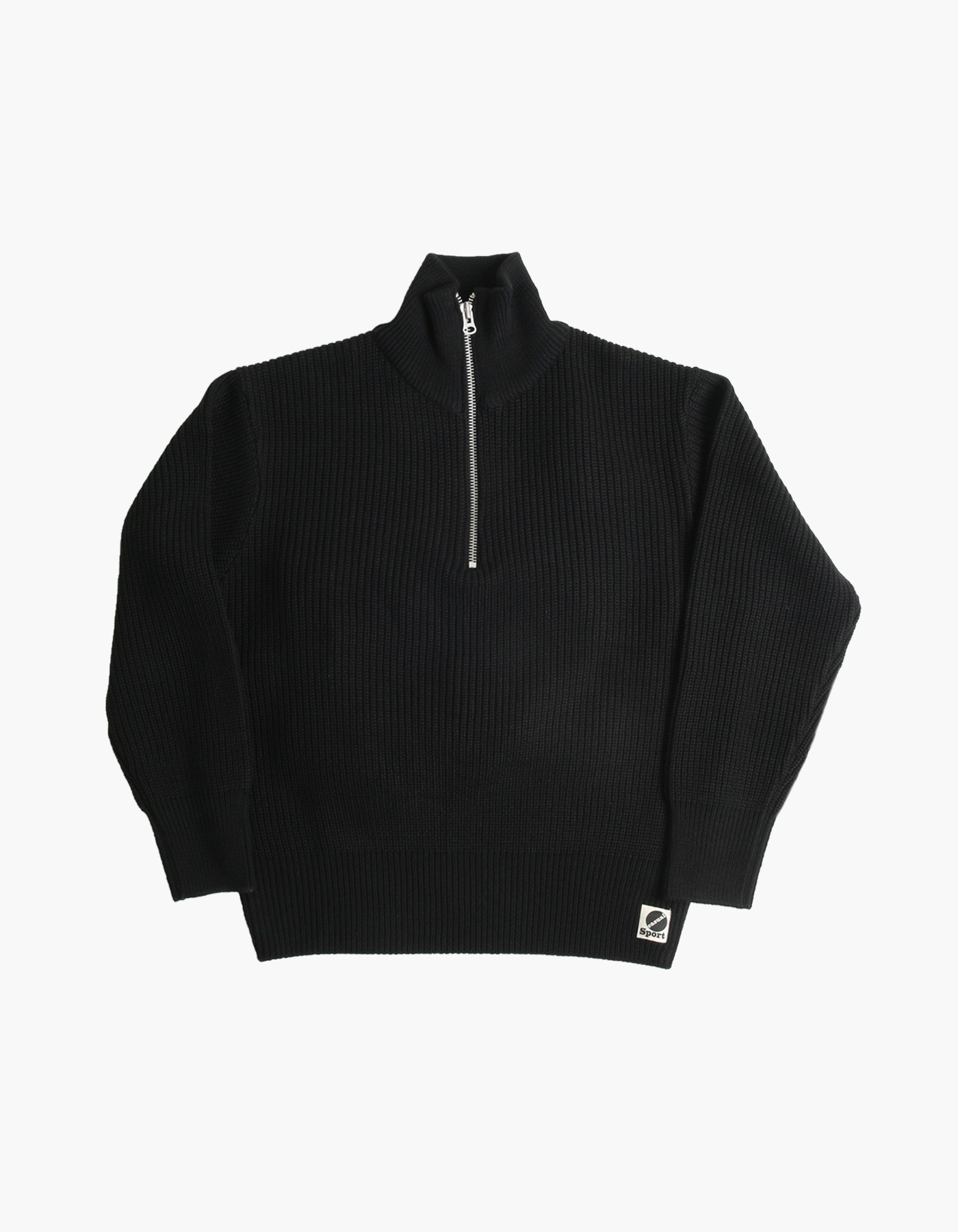 S&C WOOL HALF-ZIP/ BLACK