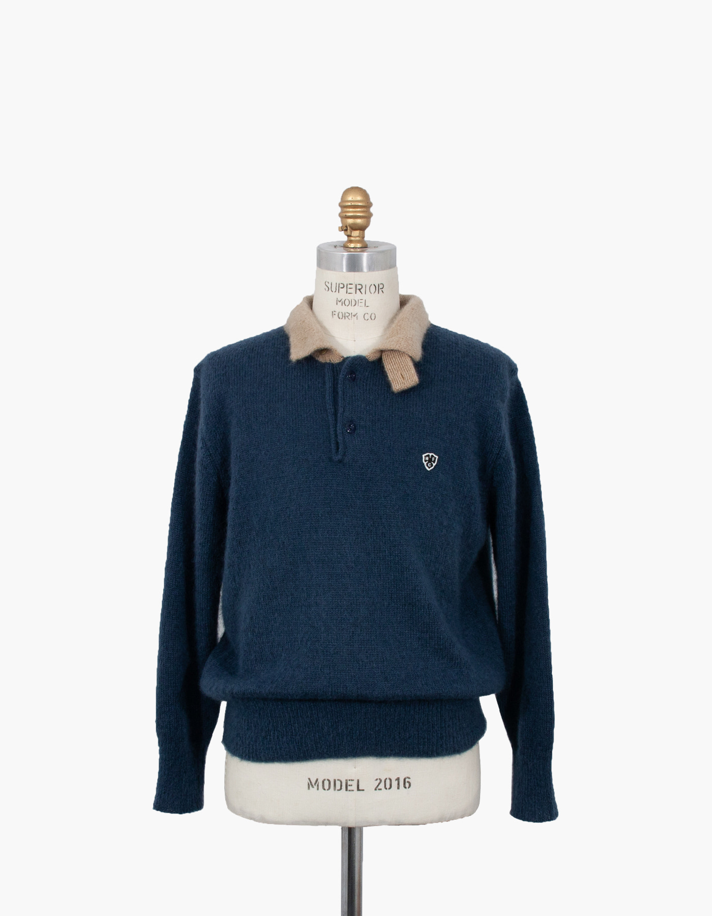 MOHAIR LONG SLEEVE POLO / BLUE GREEN-CAMEL