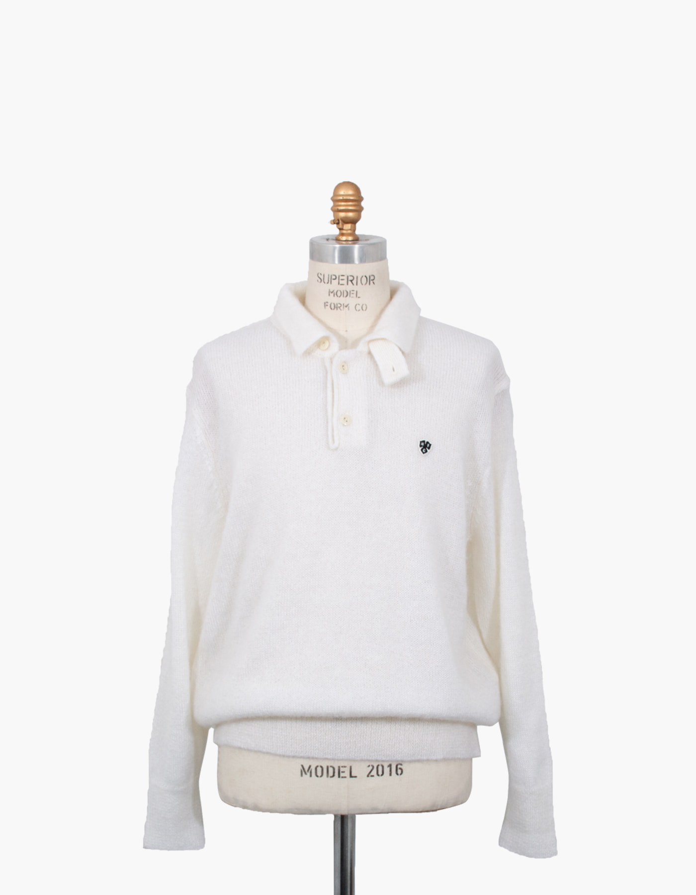 MOHAIR LONG SLEEVE POLO / WHITE