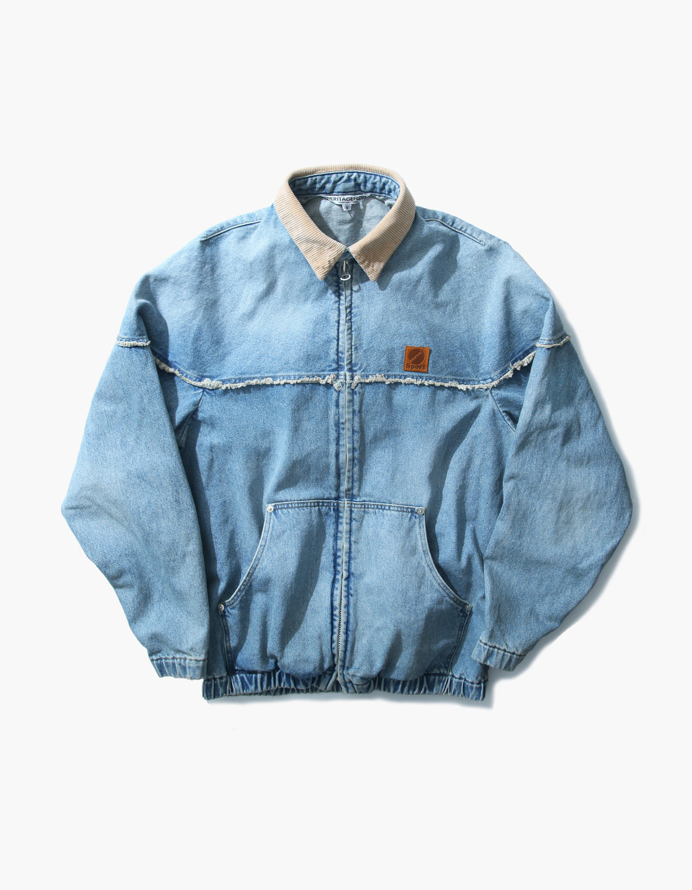 STONE WASHED WORK ZIP-UP / LIGHT INDIGO