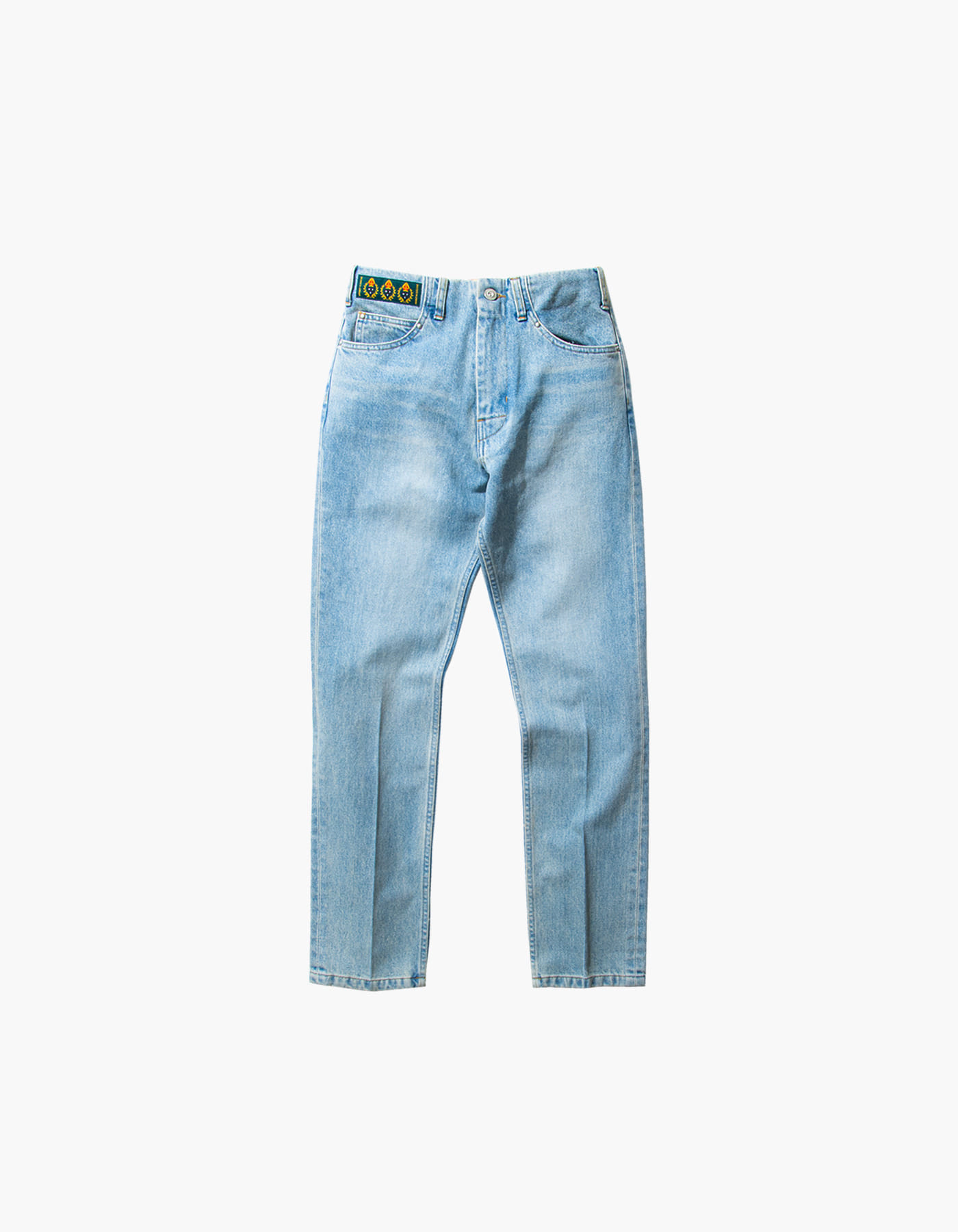 STONE WASHED STRAIGHT PANTS (W) / LIGHT INDIGO