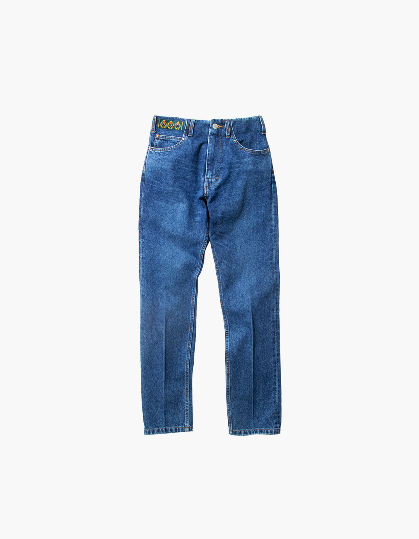 STONE WASHED STRAIGHT PANTS (W) / INDIGO