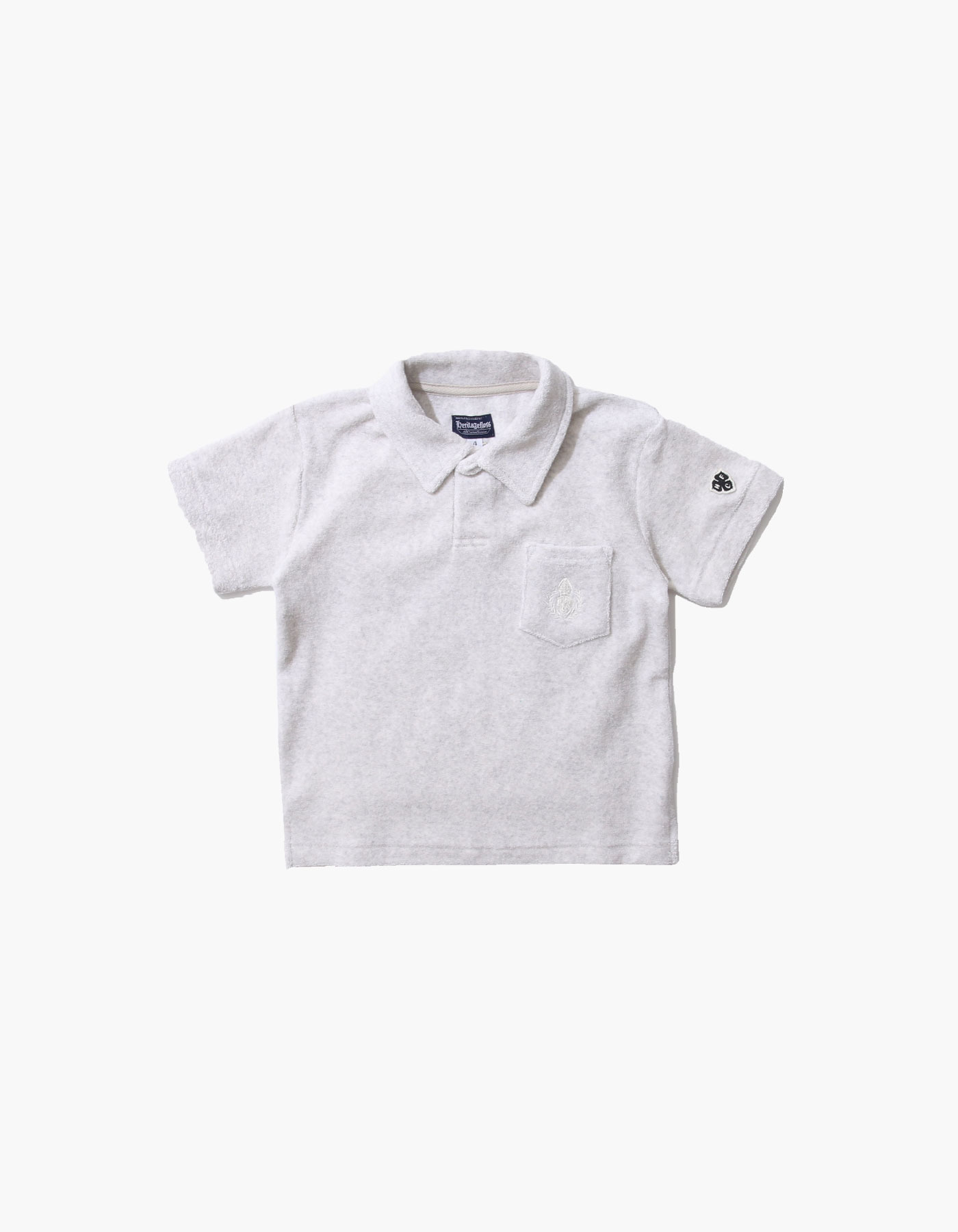 HFC CREST KIDS TOWEL POLO SHIRTS / M.GREY(1%)