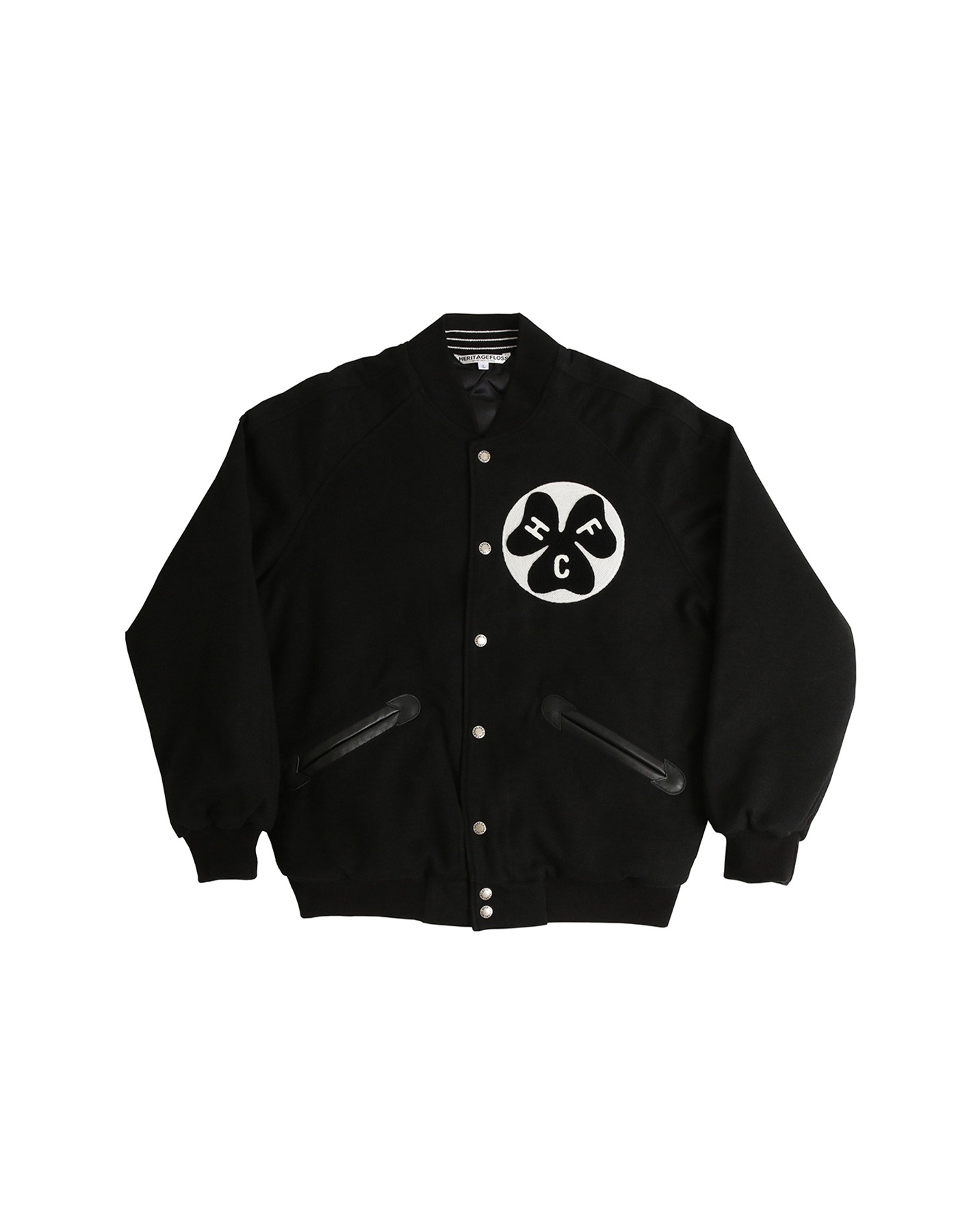 S&C FAUX WOOL VARSITY JACKET / BLACK