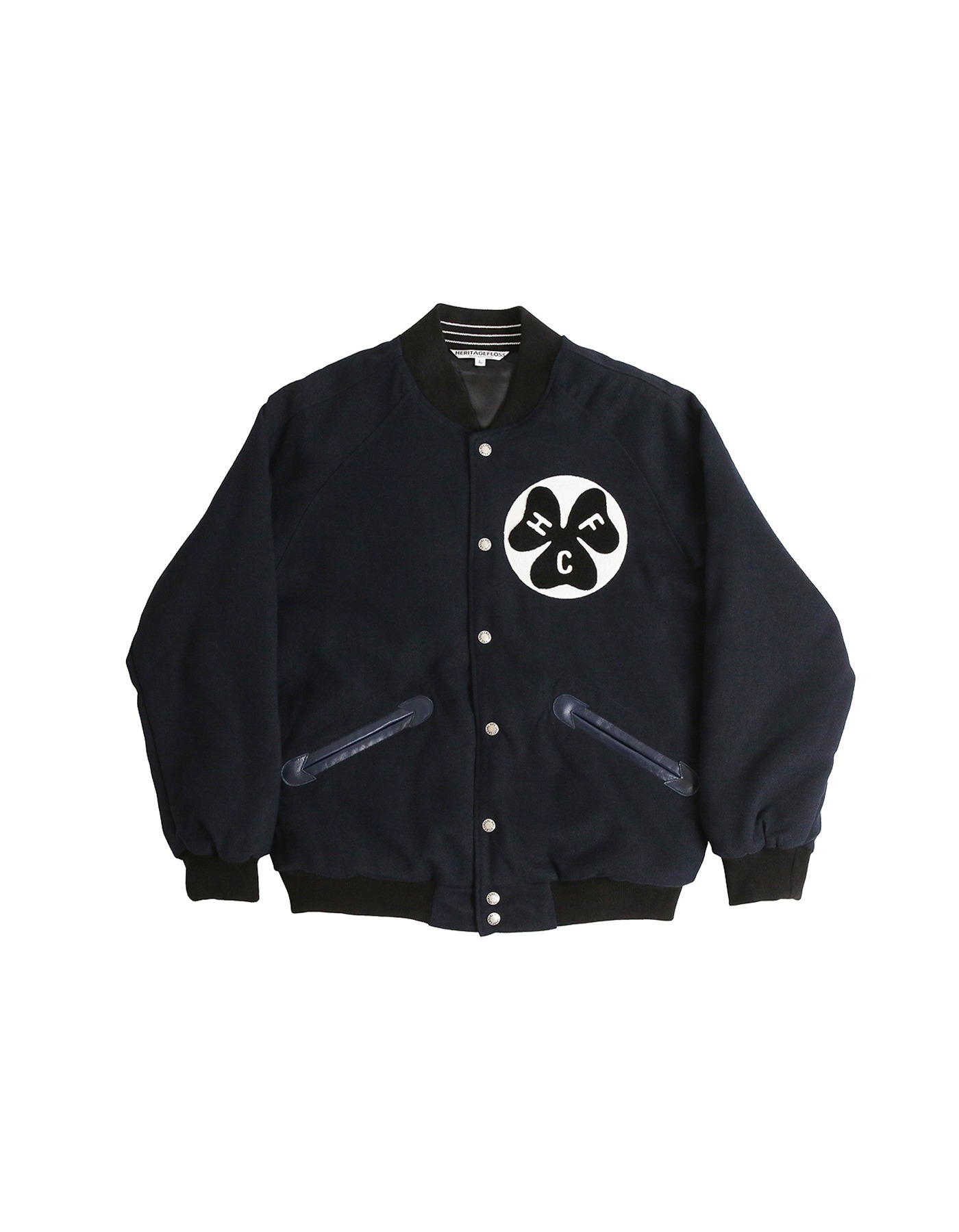 S&C FAUX WOOL VARSITY JACKET / NAVY