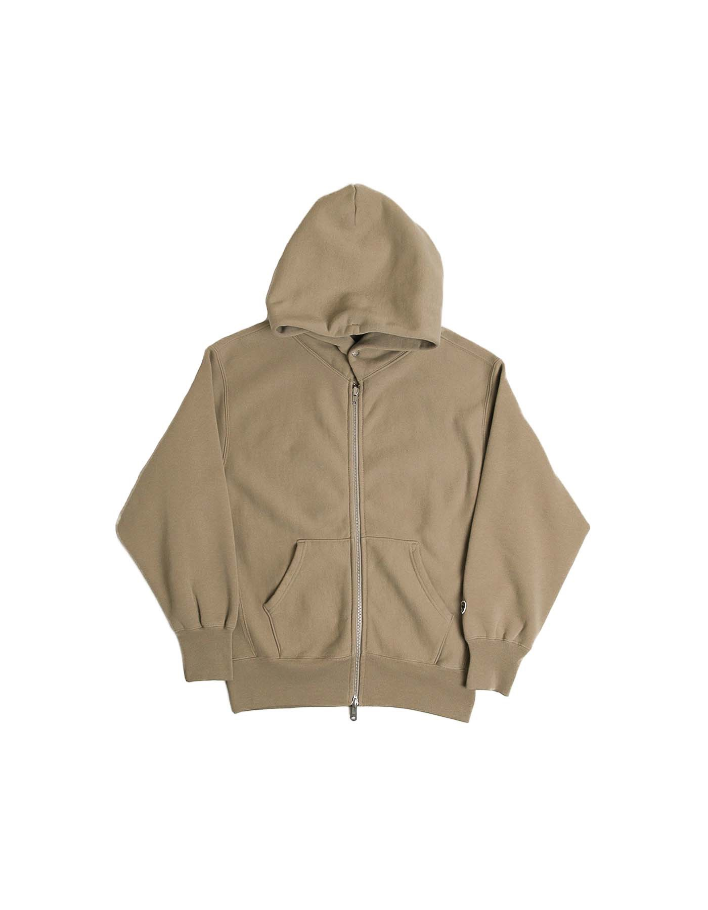 334 REVERSE FLEECE ZIP-UP HOODIE / GREGE