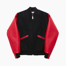 LEATHER VARSITY JACKET / RED