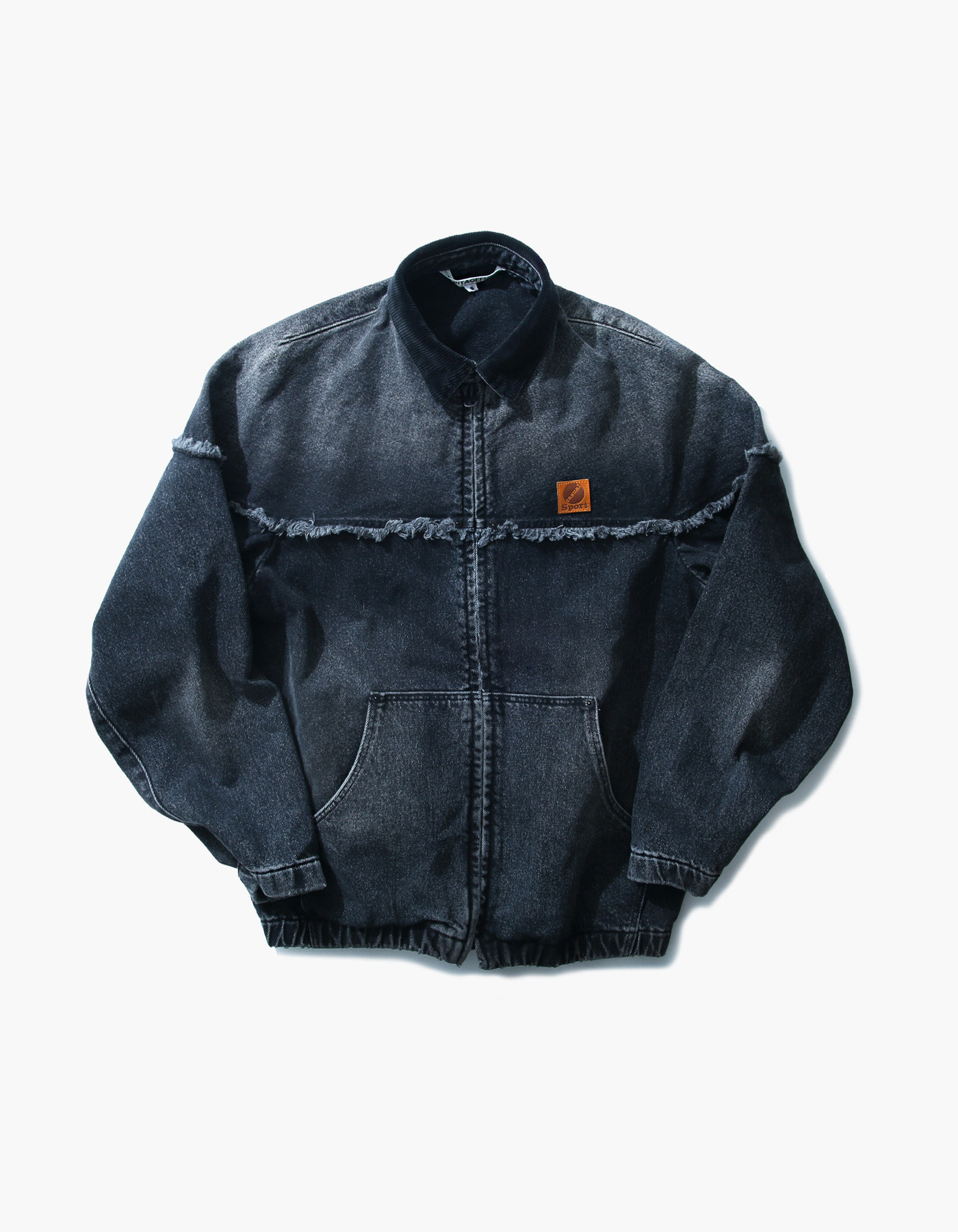 STONE WASHED WORK ZIP-UP / BLACK